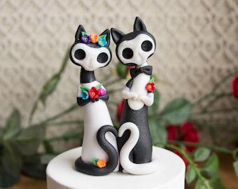 Calavera Cat Wedding Cake Topper - Gatos de los Muertos by Bonjour Poupette