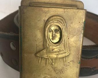 Intriguing Novelty 1960's Brass Belt Buckle with belt- Nun to Naked