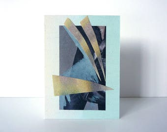 collage on wood, small abstract art, original aceo, cut-out-art, mixed media