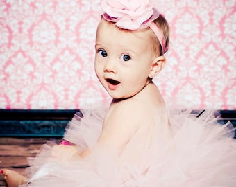 Pretty in Pink Baby Pink Tutu with Matching Pink Fabric and Lace Headband Newborn -3T photography prop
