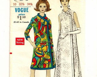 """A Fab Step-In Coat Dress Pattern for Women in Evening/Knee Length, with 7/8 Length Sleeves or Sleeveless: Size 10, Bust 32-1/2"""" • Vogue 7238"""