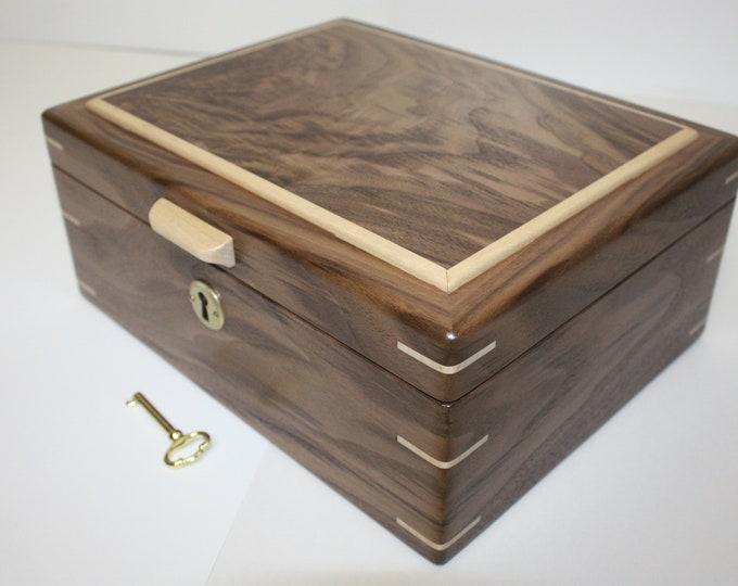 Handmade Wood Box Locking Black Walnut . Valet Box, Keepsake Box, Gun Box, Secretary Box, Lift Out Tray, Adjustable, Removable Dividers