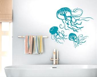 Jellyfish Decals, Underwater Decor Decal, Under the Sea Beach Decor, Bathroom Wall Decor, Sea Life Wall Decor, 3 Jelly Fish (0179c30v)