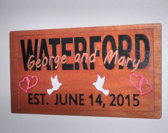 Family name wood sign Custom carved sign Personalized wooden sign Housewarming gift Engraved wood sign Family dates Custom wood established