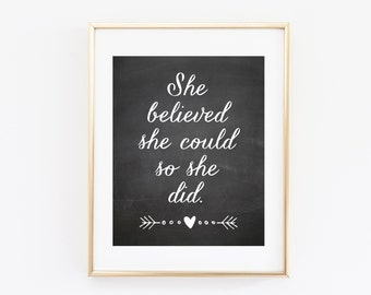 She Believed She Could, So She Did, Printable Art Print, Chalkboard 8x10 Inches, Nursery Wall Art Decor, Nursery Poster, Arrows