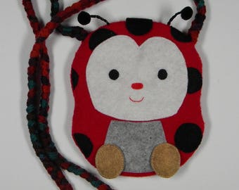 malice Ladybug red boiled wool shoulder bag
