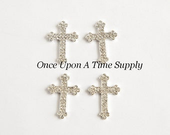 Vintage Inspired Cross Metal Rhinestone Buttons - Petite Silver Setting Tone Rhinestones - Baptism or Christening Craft Embellishment