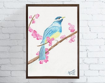 Blue Tit Bird, Bird Art Print, Watercolor Bird, Bird Painting, Nursery Art Print, Bird Wall Art, Bird Wall Decor, Bird Poster, Girls Room