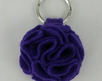 Orchid Ruffled Felt Flower Keychain Key Chain Gift Handmade Gift Felt Flower Keyring Under 10 dollars Sweet 16 Flower Floral Key Ring
