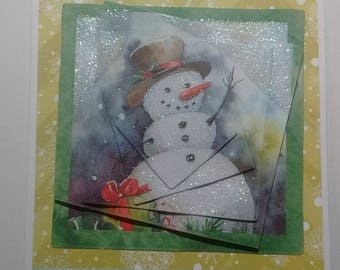 Christmas and happy new year, snowman, green 3D card