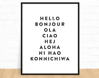 Hello Printable, Bonjour Print, Printable Wall Art, Typography Print, Black and White, Downloadable Wall Art, French Print, Instant Download