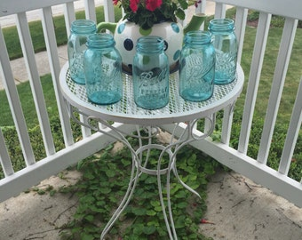 Blue Ball Jar Set of 5 Vintage Baby Blue Decor