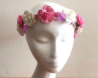 pink flower crown light up flower garland festival coachella burning man