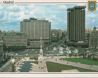 1 Unused Postcard, Madrid, Spain, Plaza Colon, Descubrimiento Gardens, c1990s, good shape