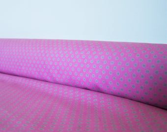 Cotton pink gray polka dots, 65 x 35 cm, fabric coupon