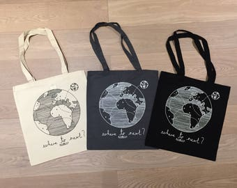 Where to Next Travellers Tote Bag, Nomad, World Map, Natural Cotton Tote Bag, Black Tote Bag, Grey Tote Bag, Silk Screened Wunderlust, Trave
