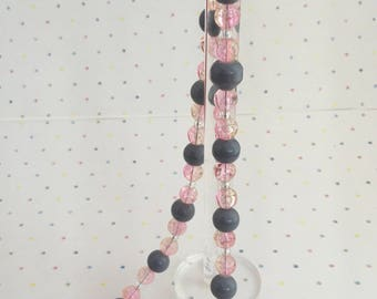 Pink and grey beaded necklace, Girls Necklace, Birthday Gift,  Ladies Jewellery, Ladies Beaded Necklace