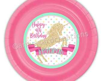 Golden Glitz Unicorn Personalized Meal Plates pack of 12  sc 1 st  Etsy & Personalized paper plates | Etsy