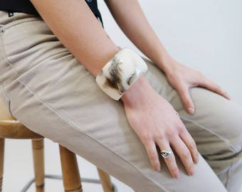 Oversized Creamy White and Dark Brown Marbled Plastic Bangle