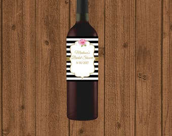 Bridal Shower Wine Label, Black White Striped Bridal Shower Wine Label, Instant Download