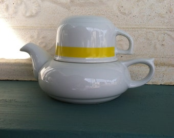 Tea Pot Tea Cup Service for One Yellow White