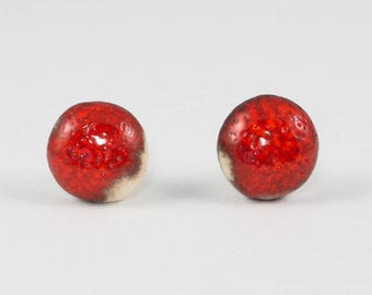 Red Stud Earrings | Ceramic Earrings | Handmade Pottery Round Earrings