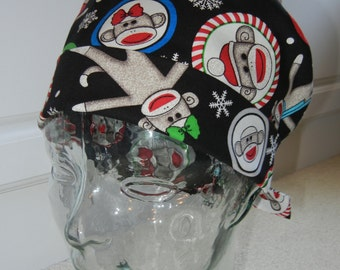 Tie Back Surgical Scrub Hat with Holiday Sock Monkeys