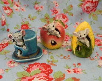Vintage Trio Of Novelty Mouse Ornaments