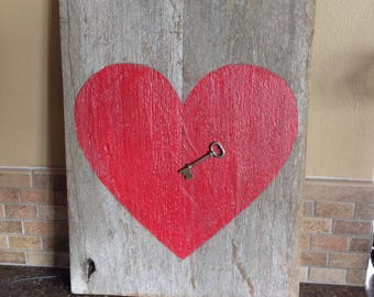 Key to My Heart Rustic Valentine Wall Hanging