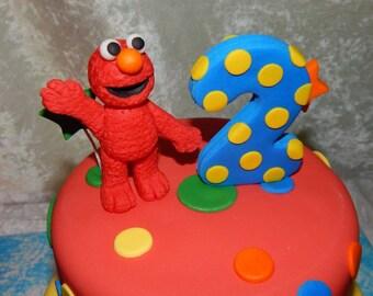Elmo Sesame Street Inspired Fondant Cake Topper with Number