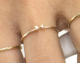 Dainty Bow Ring, 14k Solid Gold Heart Ring, Gold Stacking Ring,Bow Tie Ring,Gold Bow Ring,Cute Ribbon Ring, Delicate Bowtie Ring,Heart Ring