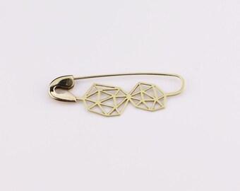 SAFETY PIN BROOCH, geometric safety pin, brass safety pin, safety pin, faceted brass safety pin, handmade brass safety pin brooch, brass pin