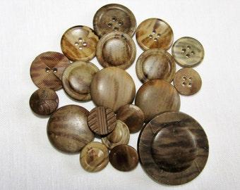 Antique/Vintage Composition Chunky Brown Coat/Jacket/Suit Buttons Purse Closures