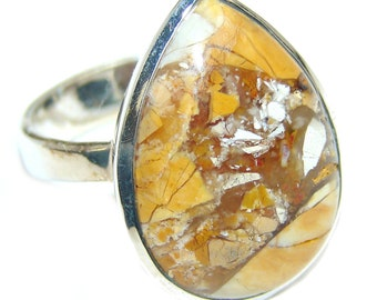 Burro Creek Jasper Sterling Silver Ring - weight 11.70g - Size 8 3 4 - dim L- 7 8, W- 3 4, T- 1 4 inch - code 19-lip-16-68