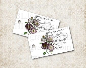 Tags Paris Purple Flowers Gift Tags Party Favor Treat Bag Tags Wedding Wish Tree Tags T030