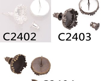 50pcs Earrings with 12mm Round Bezel Cup, Fit 12mm Round Cabochons