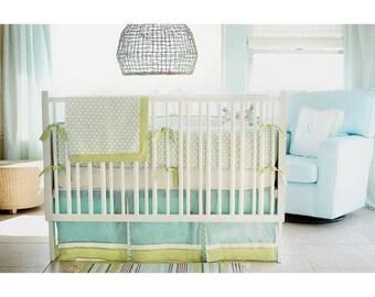 Aqua & Green Sprout Baby Bedding Set