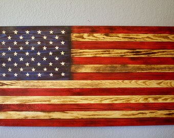 Rustic American Flag with Hand Engraved Stars