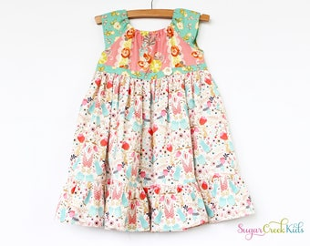 CHELSEA Bunny Patch Girl's Dress, Vintage Style Girl's Dress.  Sizes: 12mo, 2T, 3/4T, 5/6, 7/8