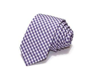 Grape Gingham Necktie~Anniversary Gift~Wedding Tie~Boys Necktie~Mens Necktie~Wedding~Mens Tie~Boys Tie~Mens Gift~Purple Tie~Grape Tie