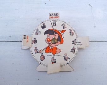 Vintage Antique 1930/30s old French cut out paper  clock /paper toy/ Pinocchio /Blanche neige/Snow white