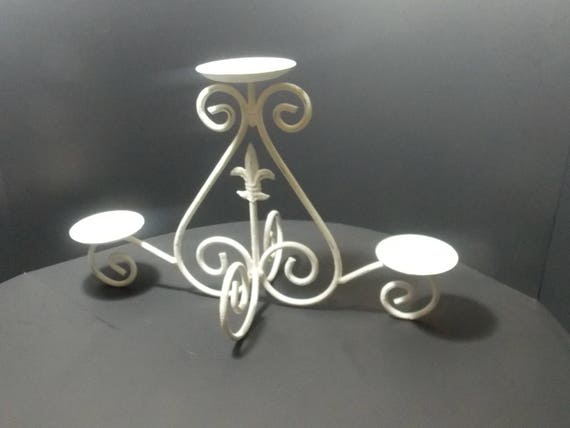 White Metal Pillar Candle Holders : Chippy white metal candle holder pillar table