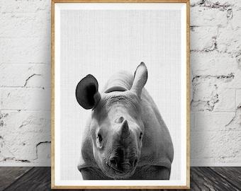 Rhino Wall Art Print, Safari Nursery Decor, African Animal, Large Printable Poster, Digital Download, Black and White, Modern Minimalist