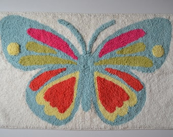 Cotton anti-slip bath mat, colorful butterfly bath rug, colorful mat