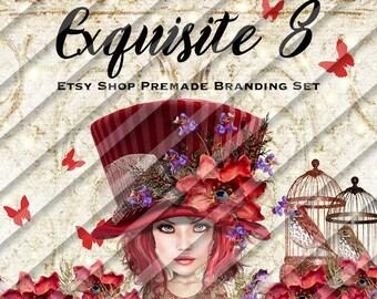 """shop banner set-shop branding set-etsy help-business branding-shop graphics-etsy graphics-red shop banner set-hats shop banner """"Exquisite 8"""""""