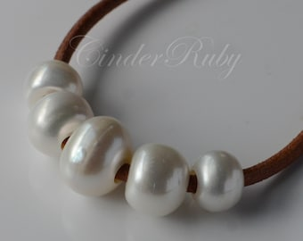 Extra Large Hole Button Freshwater Pearls,White Freshwater Pearl Rondelles,White Pearl Saucer Beads,Large Hole Pearl Spacer Beads,10-15 mm