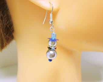 Christmas Snowman Earrings Holiday Jewelry Blue Snowman Dangles Christmas Jewelry Holiday Earrings Blue Snowman CHRISTMAS JEWELRY