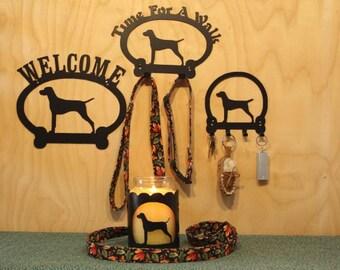 Vizsla Welcome Sign, Time For A Walk Leash Holder, Key Rack, Candle Holder for Yankee Type Jar Candles