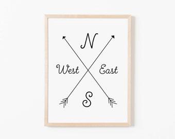 Compass Nursery Art. Nursery Wall Art. Nursery Prints. Nursery Decor. Boy Wall Art. Adventure Nursery. Map Wall Art. Explorer Nursery.
