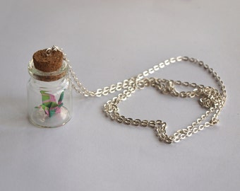 Personalized necklace - Little origami crane bottle
